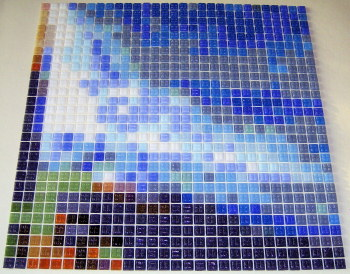 Custom Mosaic Tile sheet during assembly (showing back of tiles)