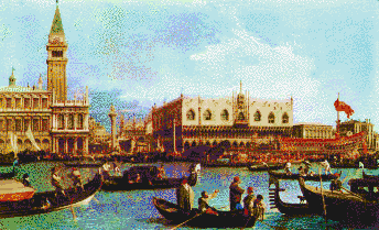 Bucentoro returns to the Molo, Venice (Canaletto) - Mosaic Art