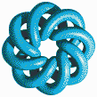 Turquoise Torus Knot (8,3 on White) - Mosaic Art