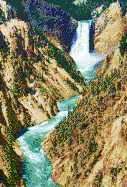 Yellowstone Waterfall from Artist Point - Mosaic Art