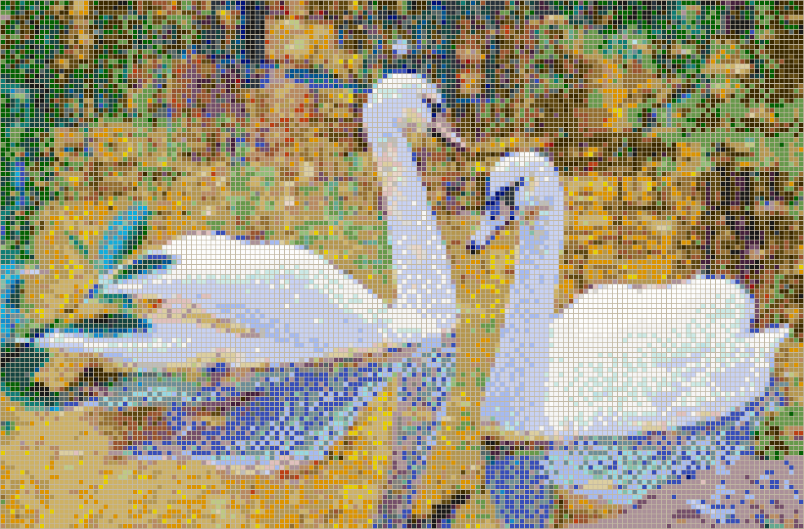Autumn swans mosaic tile art for Drawing mosaic pictures