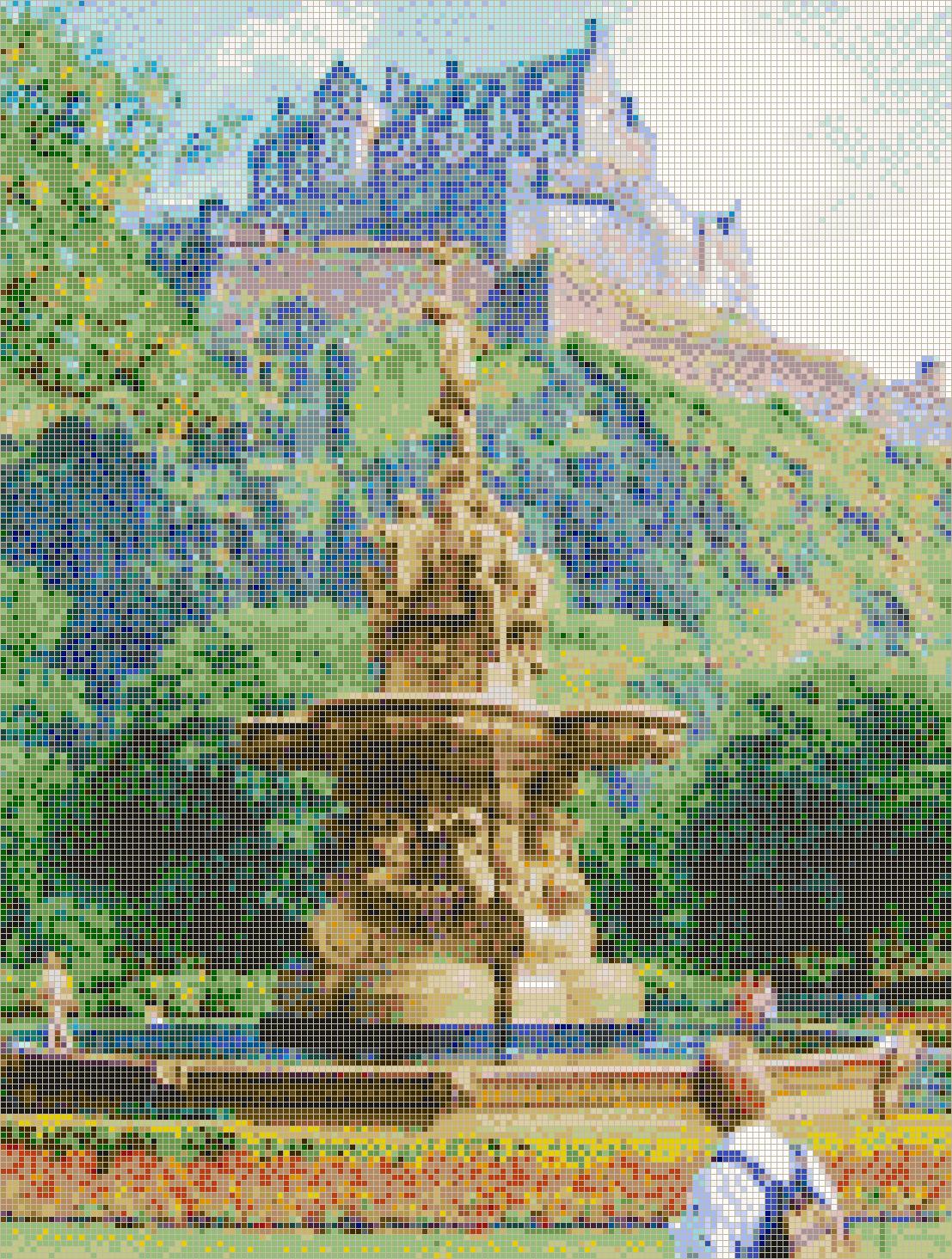 edinburgh castle and fountain - mosaic tile art