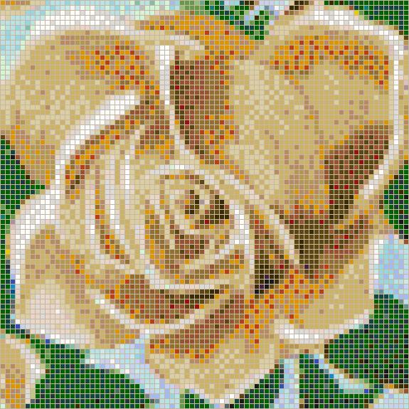 Fairy Rose (Apricot) - Mosaic Tile Art