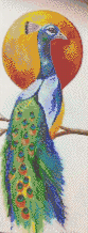 Glowing Peacock Mosaic Tile Art