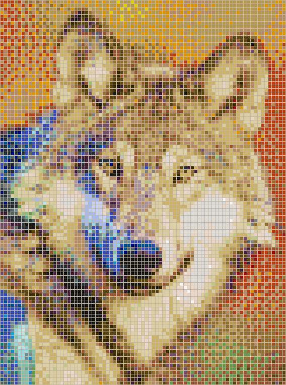 Grey Wolf Mosaic Tile Art