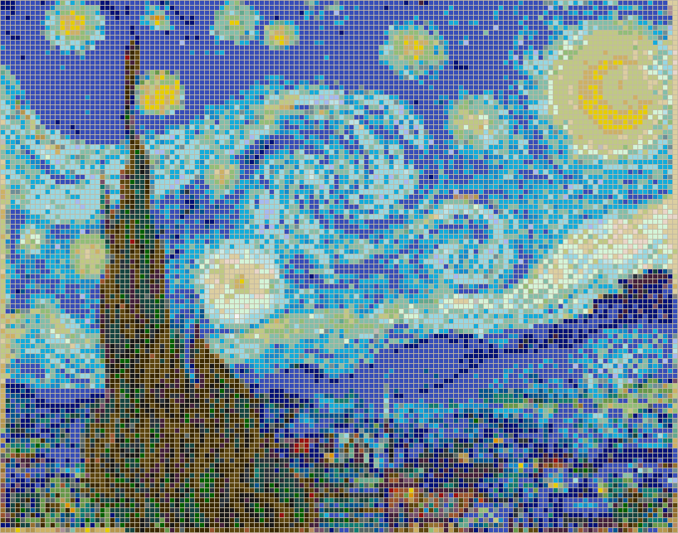 Starry Night (Van Gogh) - Framed Mosaic Wall Art