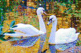 Autumn Swans - Mosaic Art