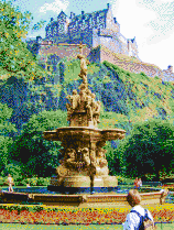 Edinburgh Castle and Fountain - Mosaic Art