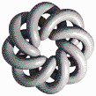 Grey Torus Knot (8,3 on White) - Mosaic Art