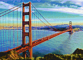Golden Gate Bridge from Marin Headlands - Mosaic Art