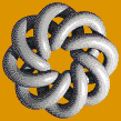 Grey Torus Knot (8,3 on Mid Orange) - Mosaic Art