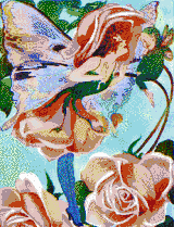 Rose Flower Fairy - Mosaic Art