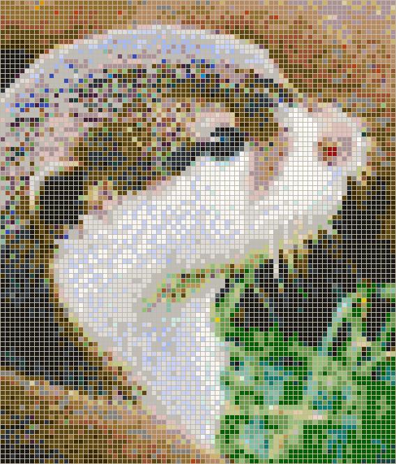 Otter Face Mosaic Tile Art