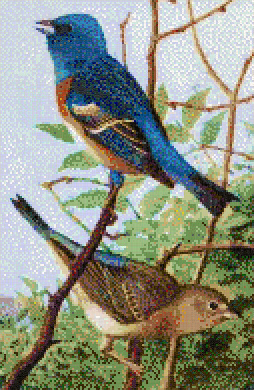 Lazuli Bunting Mosaic Tile Art