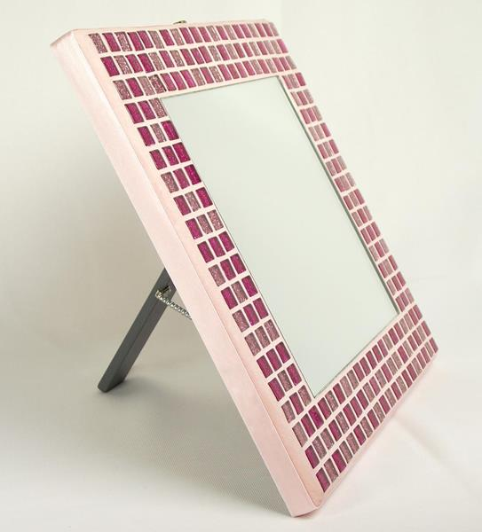 Pink Glitter 23cm Mosaic Mirror with Stand