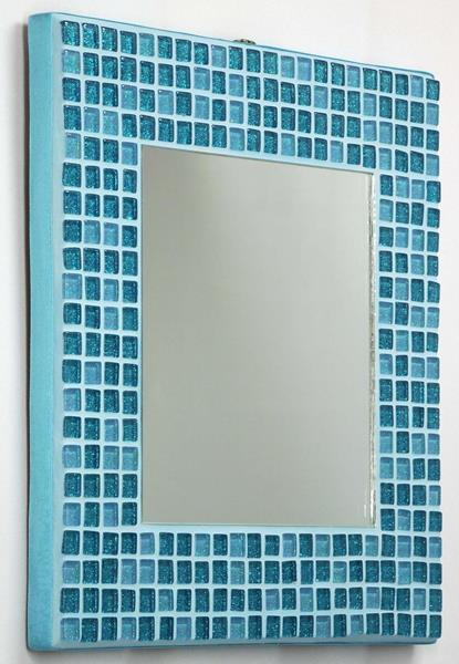Turquoise Glitter 25cm Mosaic Mirror (side)