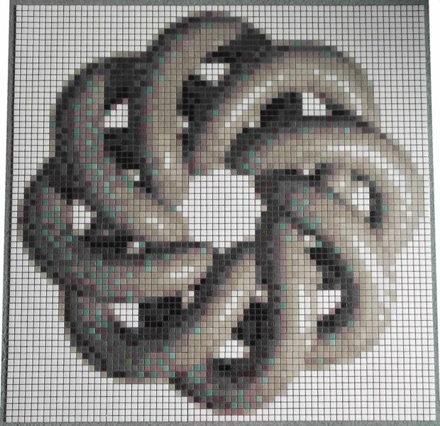 Grey Torus Knot Mosaic Tile Art