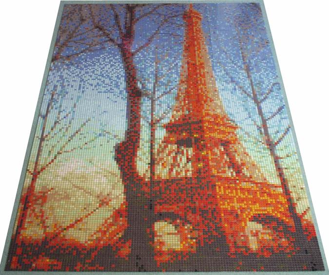 Eiffel Sunset Mosaic Tile Art